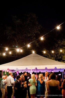 Party under tent at Bellamy Mansion